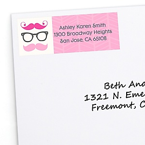 Pink Mustache Bash - Personalized Baby Shower Return Address Labels - 30 Count