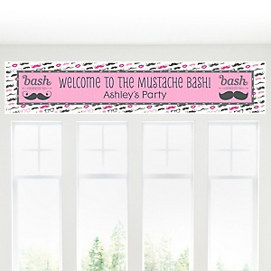 Pink Mustache Bash - Personalized Baby Shower Banner