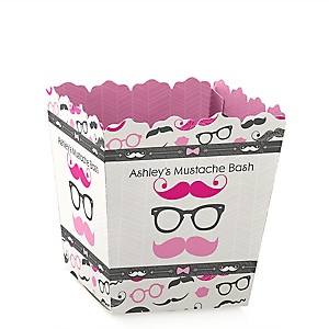 Pink Mustache Bash - Personalized Baby Shower Candy Boxes