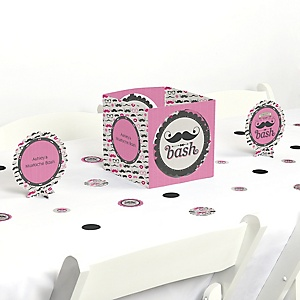 Pink Mustache Bash - Party Centerpiece & Table Decoration Kit