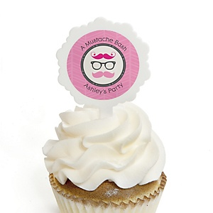 Pink Mustache Bash - 12 Cupcake Picks & 24 Personalized Stickers - Baby Shower Cupcake Toppers