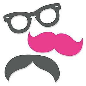 Pink Mustache Bash - Shaped Baby Shower Paper Cut-Outs - 24 ct