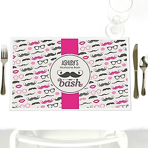 Pink Mustache Bash - Personalized Baby Shower Placemats