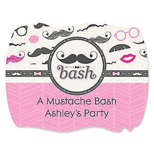 Pink Mustache Bash - Personalized Baby Shower Squiggle Sticker Labels - 16 Count