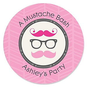 Pink Mustache Bash - Personalized Baby Shower Round Sticker Labels - 24 Count