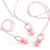 Pink Pacifier Game - 12 Necklaces - Baby Shower Game