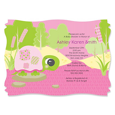 girl turtle baby shower invitation baby