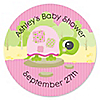 Pink Baby Turtle - Personalized Baby Shower Sticker Labels - 24 ct