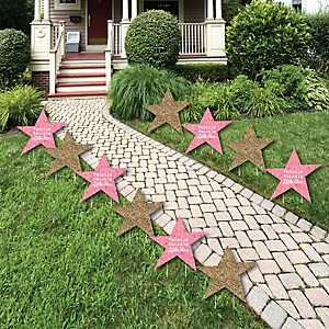 Pink Twinkle Twinkle Little Star - Lawn Decorations - Outdoor Baby Shower or Birthday Party Yard Decorations - 10 Piece