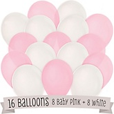 Pink and White - Baby Shower Latex Balloons - 16 ct