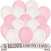 Pink and White - Birthday Party Latex Balloons - 16 ct
