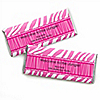 Pink Zebra - Personalized Birthday Party Candy Bar Wrapper Favors