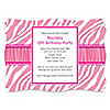 Pink Zebra - Personalized Birthday Party Invitations