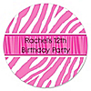 Pink Zebra - Personalized Birthday Party Sticker Labels - 24 ct