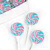 Pink, Blue & White - Blueberry Swirl Lollipops - Baby Shower Candy - 24 ct