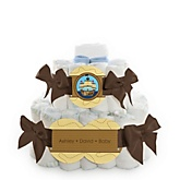 It's A-Boy Mates! Pirate - 2 Tier Personalized Square Baby Shower Diaper Cake