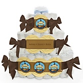 It's A-Boy Mates! Pirate - 3 Tier Personalized Square Baby Shower Diaper Cake