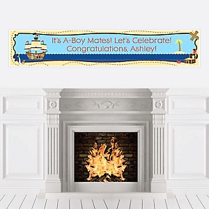 It's A-Boy Mates! Pirate - Personalized Baby Shower Banners