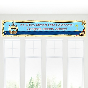 It's A-Boy Mates! - Pirate - Personalized Baby Shower Banner