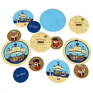 It's A-Boy Mates! - Pirate - Personalized Baby Shower Table Confetti - 27 ct