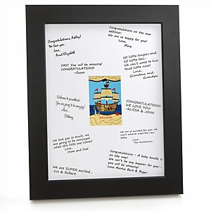 It's A-Boy Mates! Pirate - Personalized Baby Shower Print with Signature Mat