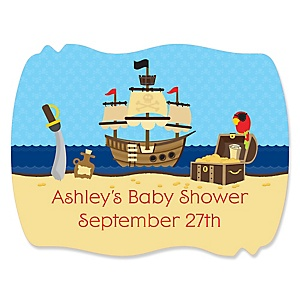 It's A-Boy Mates! Pirate - Personalized Baby Shower Squiggle Sticker Labels - 16 Count