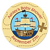 It's A-Boy Mates! Pirate - Personalized Baby Shower Round Sticker Labels - 24 Count