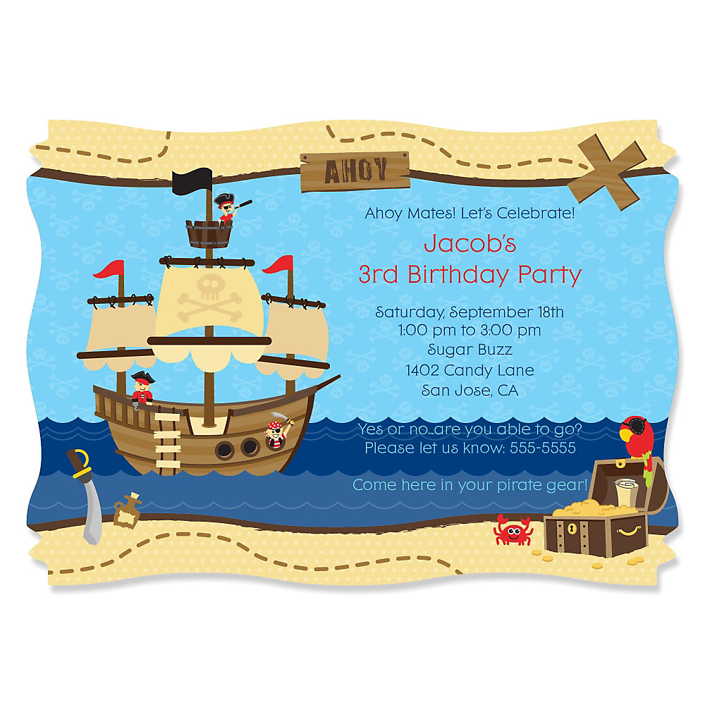 ahoy mates pirate  personalized birthday party invitations, party invitations