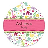 Playful Butterfly and Flowers - Personalized Baby Shower Round Tags - 20 Count