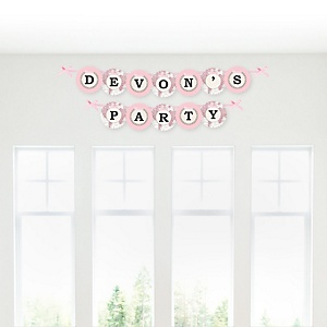 Precious Cargo - Pink - Personalized Baby Shower Garland Letter Banners