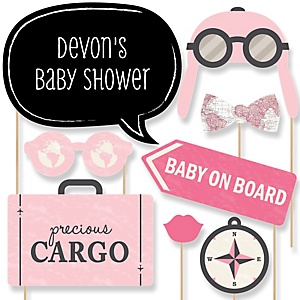 Precious Cargo - Pink - Baby Shower Photo Booth Props Kit - 20 Props