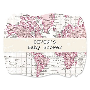 Precious Cargo - Pink - Personalized Baby Shower Squiggle Stickers - 16 ct