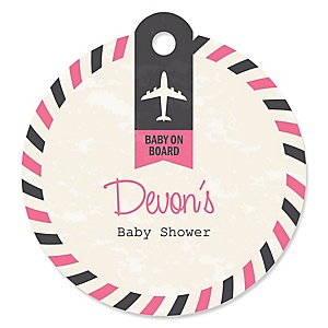 Precious Cargo - Pink - Round Personalized Baby Shower Tags - 20 ct