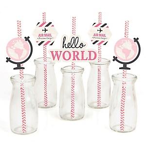 Precious Cargo - Pink - Paper Straw Decor - Baby Shower  Striped Decorative Straws - Set of 24