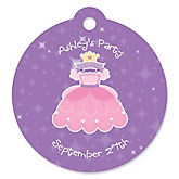 Pretty Princess - Personalized Baby Shower Round Tags - 20 Count