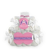 Pretty Princess - 2 Tier Personalized Square Baby Shower Diaper Cake