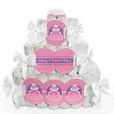 Pretty Princess - 3 Tier Personalized Square Baby Shower Diaper Cake