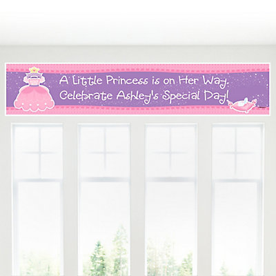 Pretty princess personalized baby shower banners Baby shower banners