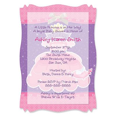 pretty princess personalized baby shower vellum overlay invitations
