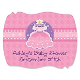 Pretty Princess - Personalized Baby Shower Squiggle Sticker Labels - 16 Count