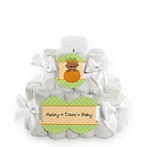 Little Pumpkin African American - 2 Tier Personalized Square Baby Shower Diaper Cake