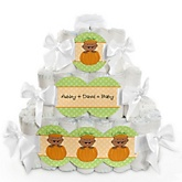 Little Pumpkin African American - 3 Tier Personalized Square Baby Shower Diaper Cake