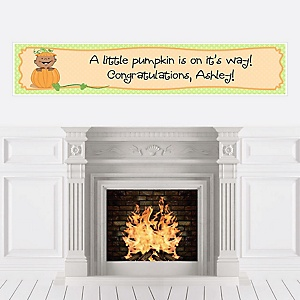 Little Pumpkin African American - Personalized Baby Shower Banners