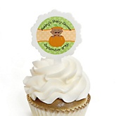 Little Pumpkin African American - 12 Cupcake Picks & 24 Personalized Stickers - Baby Shower Cupcake Toppers