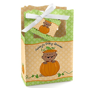 Little Pumpkin African American - Personalized Baby Shower Favor Boxes