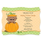 Little Pumpkin African American - Personalized Baby Shower Invitations