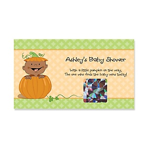 Little Pumpkin African American - Personalized Baby Shower Game Scratch Off Cards - 22 ct