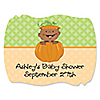 Little Pumpkin African American - Personalized Baby Shower Squiggle Stickers - 16 ct