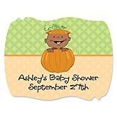 LIttle Pumpkin African American - Personalized Baby Shower Squiggle Sticker Labels - 16 Count