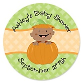Little Pumpkin African American - Personalized Baby Shower Round Sticker Labels - 24 Count